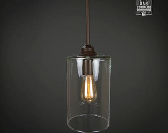 Pendant Light Fixture | Edison Bulb | Oil Rubbed Bronze | Pendant | Kitchen Light | Pendant Light |  Edison Light Bulb | Wide Cylinder Shade