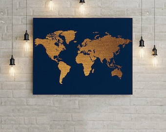 Gold leaf world map etsy printable gold world map gold home decor wall art office decor office wall gumiabroncs Images