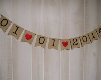 Custom Wedding Date Banner . Engagement Banner . Engagement Photo Prop . Save the Date . Customized . Custom Color Choices