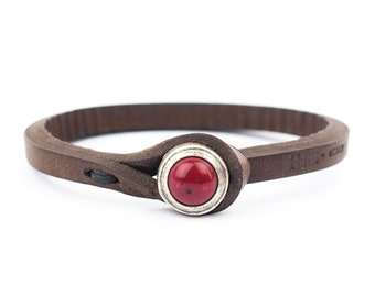 Women's ITALIAN LEATHER Bracelet with Stone Closure, Entirely Handmade in Italy (Brown Leather with Red Stone)