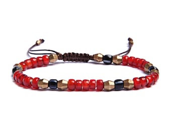 Jewelry for Men - Beaded Bracelet for Men - Red, blue and brass bracelet for men - Men's Accessories - Gifts for Dad - Gifts for Him