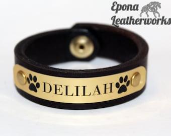 Leather ID Bracelet - Pet ID Bracelet - Pet Nameplate Bracelet - Paw Print Bracelet - Epona Leatherworks
