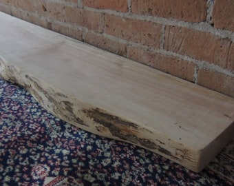 "Live Edge Maple Fireplace Mantel or Mantle Shelf 68"" x 10-1/2"" x 2-3/8""  - Old Growth Patina - Fast Shipping"