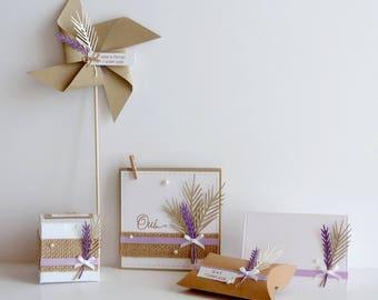 Ensemble de prototypes pour mariage/anniversaire thème champêtre blé et lavande, personnalisables