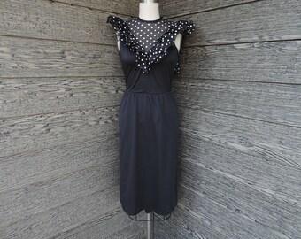 black and white polka dot dress 1970s ruffled sheer bodice disco dress small