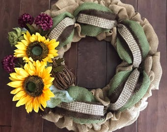 Fall Wreath - Fall Burlap Wreath - Fall Wreath for Front Door - Autumn Wreath - Fall Sunflower Wreath