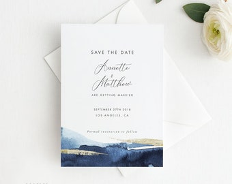 Modern Gold Dust Nautical Blue Save the Date Printable, Printable Save the Date Card, Wedding Invites, Letter or A4 Size (Item code: P1084)