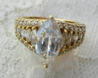 Beautiful Woman's Marquise Cut Ring, CZ Faux Diamond, Silver Ring, sz 6 1/2, cocktail ring, costume ring, vintage