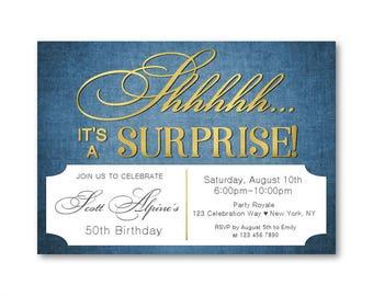 Surprise 50th birthday invitation woman man wine birthday mens 50th birthday invitations surprise 50th birthday blue and gold party milestone birthdays stopboris Gallery