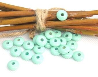 50 beads wooden flat lentil shape green 10 mm standard pacifier this