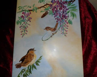 plate holder or plate of birds on Wisteria customizable villa