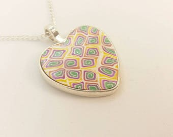 Polymer Clay Heart Pendant Necklace D100101