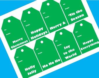 Green and White Printable Christmas Gift Tags
