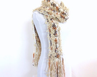 RESERVED FOR Donna Mazzenga    Hand knit Scarf Cream Knit Scarf Chunky Knit Scarf Knit womens scarf Long scarf with fringe