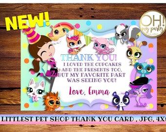 Littlest pet shop Thank you card, littlest pet shop party,littlest pet shop birthday,littlest pet shop birthday party,littlest pet shop