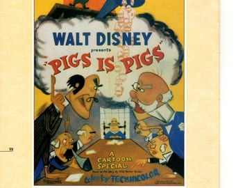 """Vintage Disney Poster Print, 1954, Pigs is Pigs, Item 105 Standard Size 11"""" x 14"""" Frameable Picture, Wall Art"""