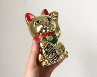 Vintage Ceramic Golden Shiny Made in Taiwan Lucky Cat Maneki Neko Piggy Coin Bank