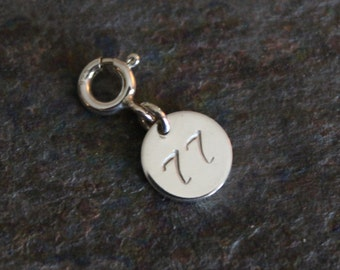 Sterling Silver Personalized Number Charm w/ Spring Ring Clasp - Numbers 51-99 Available - Brand New Fine Jewelry
