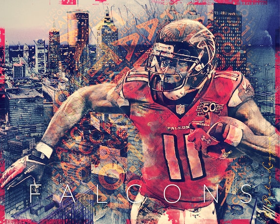 Atlanta Falcons Skyline Art Featuring Fan Favorite Julio