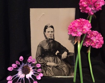 Mourning Tintype - Woman - Flowers in Hair - Antique Photo