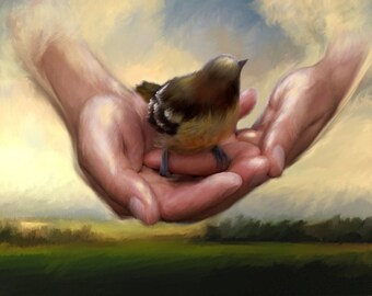 In His Loving Care - His Eye is on the Sparrow - Inspirational Art Print - Artwork by Lisa MD Skinner