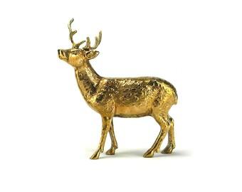 Ornate Vintage Brass Deer Stag - Hollywood Regency Gold Christmas Santa Reindeer Spotted Deer Fireplace Mantel - Woodlands Mid Century Buck
