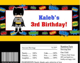 Batman Superhero Candy Bar Wrappers INSTANT DOWNLOAD Editable