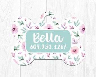 Dog Tags for Dogs Personalized Dog Tags Dog Tag for Collar Dog Collar Tag Custom Pet ID Tag Dog Collar Tag Cute Pet Tags Flower Mint Green