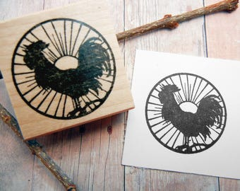 Rooster Chicken Rubber Stamp  - Handmade by Blossom Stamps