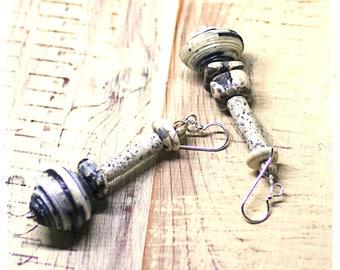 Bohemian tribal earrings black white, Rustic paper bead earrings, Chunky earrings, Boho earrings, Gypsy earrings, Stacked bead earrings,