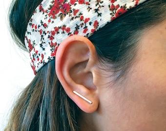 Ear Climbers | Silver Ear Climbers | Bar Ear Climbers | Minimal Ear Climbers | Simple Ear Climbers