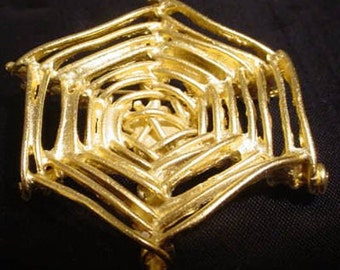 Hand Sculpted Large Gold Tone Cast Metal Spider Web Brooch