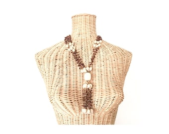 Vintage Boho Brown and White Beaded Tassel Necklace