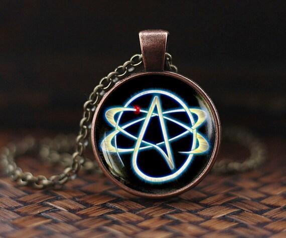 Atheist symbol necklace atom pendant atheist jewelry no atheist symbol necklace atom pendant atheist jewelry no religion necklace mens necklace aloadofball Choice Image