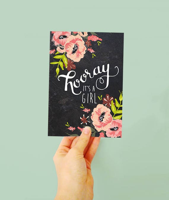 Hooray it's a girl! - New Baby Girl Card - New arrival - Pink Flowers - pretty card for a new baby girl