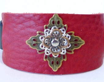 Leather cuff, Red leather riveted mixed metal flowers cuff