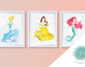 Classic Disney Princesses in Watercolor, Prints of Original Paintings