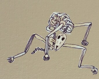 Small Skeleton Dog Painting