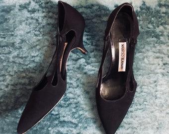 Vintage Black Manolo Blahnik Kitten Heel
