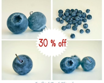 Blueberry prints, blue kitchen art, blueberry pictures 8x10, kitchen print set of 4 fruit photographs, cafe wall art, modern kitchen decor