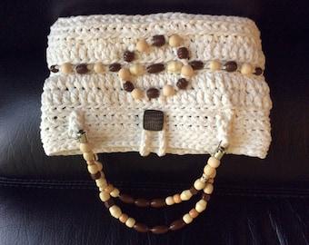 Little white summer crochet purse