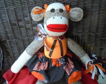 Cleveland Browns Cheerleader Sock Monkey Doll