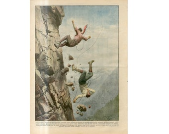 C. 1930 - TRAGEDY! FALLING CLIMBERS print - original antique lithograph - accident print - tragedy print - climbing accident in the Alps