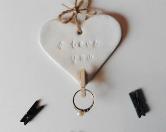 I love you Hanging Clay Plaque With Peg Photo Holder