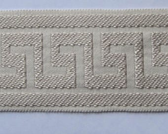 GREEK KEY tape braid border flat trim 2.65 inch sand on ivory