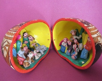 Peru Nativity Gourd - Folk Art - Hand Crafted - Carved and Painted by Local Artists