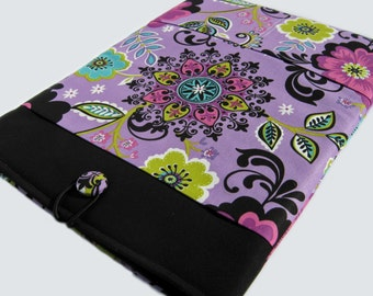 Macbook Pro Sleeve, Macbook Pro Case, 13 inch Macbook Pro Cover, 13 inch Macbook Pro Case, Laptop Sleeve, Black and Purple Floral