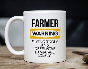 Farmer Warning Mug - Farmer Coffee Mug - Gift For Farmer - Farmer Mugs - Farm Owner Mugs - 11oz 15oz Novelty Christmas Birthday Gift