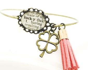 Good luck bracelet - good karma - clover charm bracelet - tassel bangle bracelet