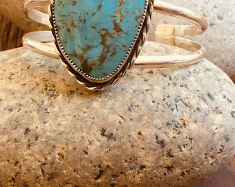 Large Turquoise, Set in Handcrafted Sterling Silver Cuff, Classic Design,Evens Point Studio